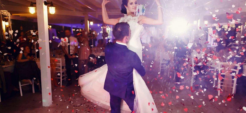 Wedding dance in restaurant hall