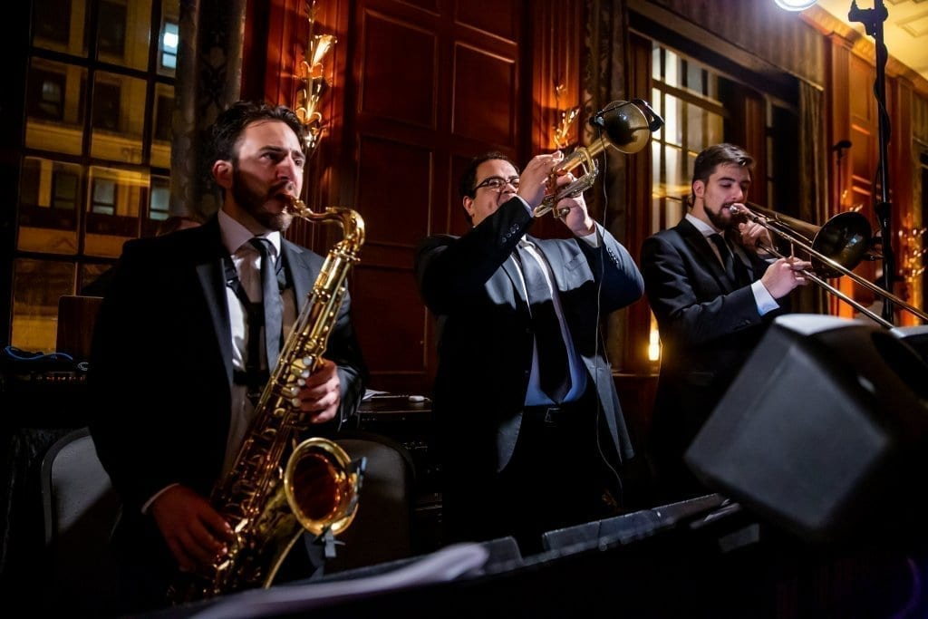 Horn section performing
