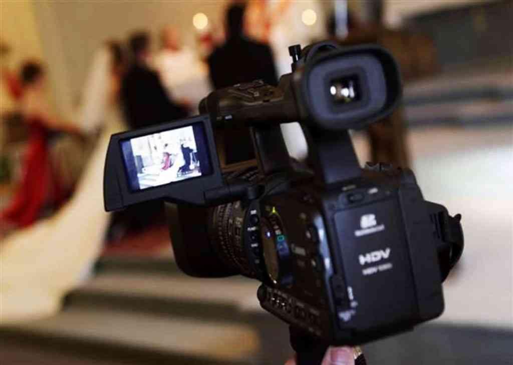 Video camera at wedding
