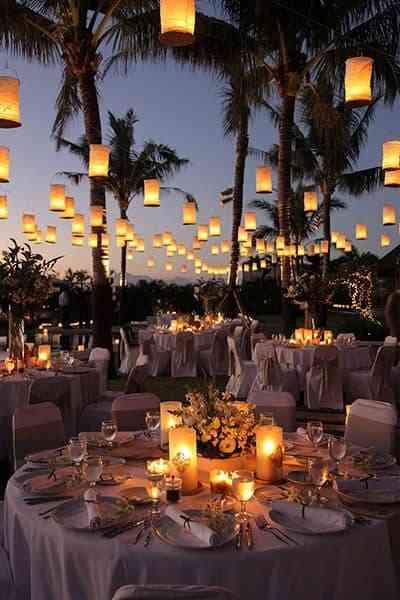 Outdoor wedding dinner setup