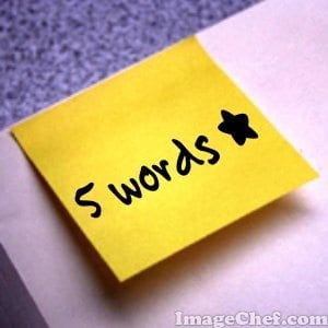 5 words sticky note