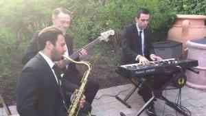 Jazz trio performing cocktail hour music