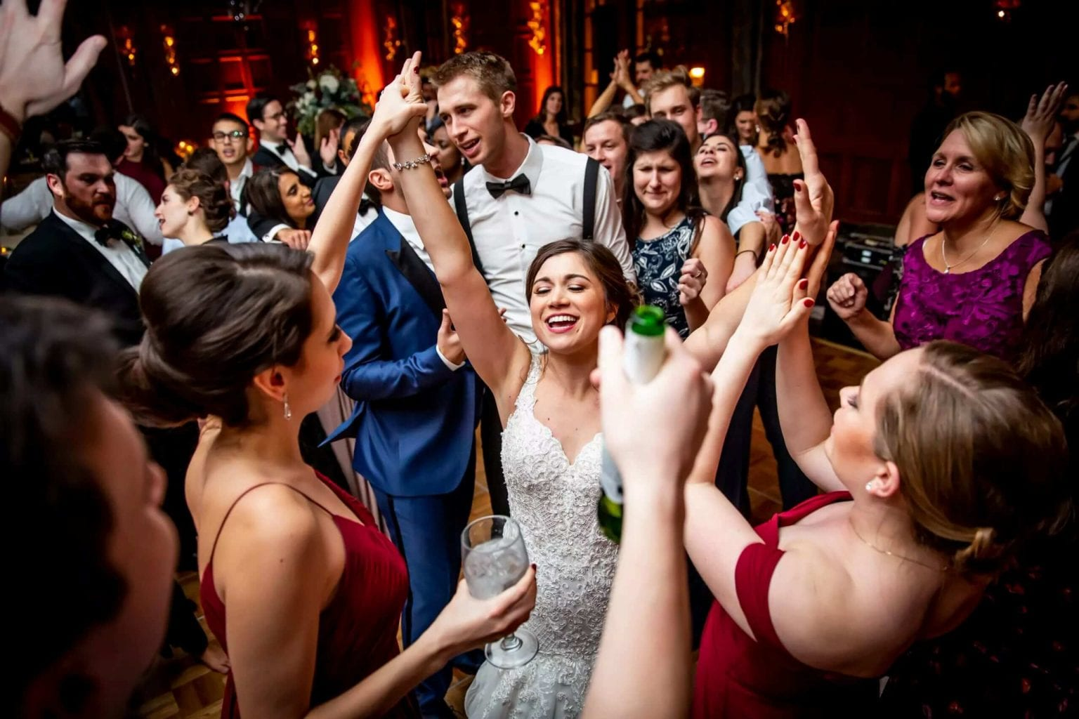 Bride on packed dance floor